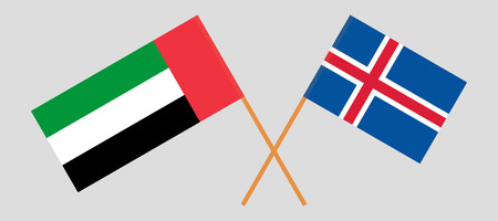 Iceland and United Arab Emirates. The Icelandic and UAE flags. Official colors. Correct proportion. Vector illustration