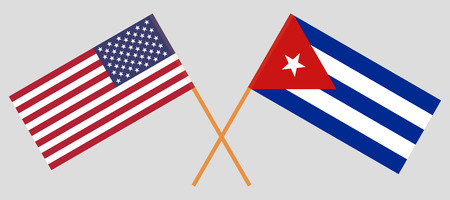 USA and Cuba. The United States of America and Cuban flags. Official colors. Correct proportion. Vector illustration