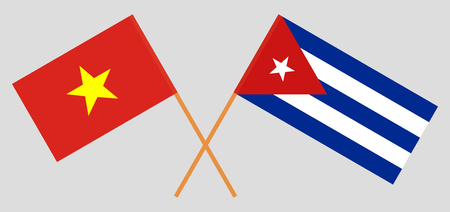 Cuba and Vietnam. The Cuban and Vietnamese flags. Official colors. Correct proportion. Vector illustration  イラスト・ベクター素材