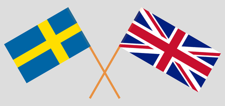 UK and Sweden. The British and Swedish flags. Official colors. Correct proportion. Vector illustration  Illustration