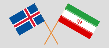 Iran and Iceland. The Iranian and Icelandic flags. Official colors. Correct proportion. Vector illustration