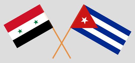 Cuba et la Syrie. Les drapeaux cubain et syrien. Couleurs officielles. Proportion correcte. Illustration vectorielle