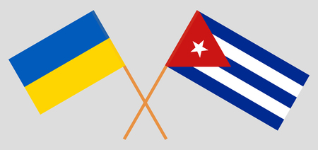 Cuba and Ukraine. The Cuban and Ukrainian flags. Official colors. Correct proportion. Vector illustration