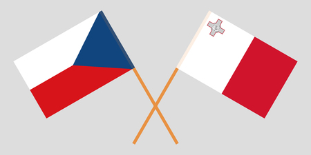 Malta and Czech Republic. The Maltese and Czech flags. Official colors. Correct proportion. Vector illustration  イラスト・ベクター素材
