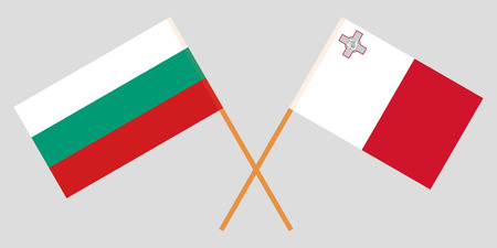 Malta and Bulgaria. The Maltese and Bulgarian flags. Official colors. Correct proportion. Vector illustration Vektoros illusztráció