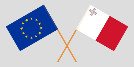 Malta and EU. The Maltese and European flags. Official colors. Correct proportion. Vector illustration Vektoros illusztráció