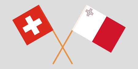 Malta and Switzerland. The Maltese and Swiss flags. Official colors. Correct proportion. Vector illustration Vectores