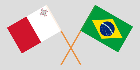 Malta and Brazil. The Maltese and Brazilian flags. Official colors. Correct proportion. Vector illustration