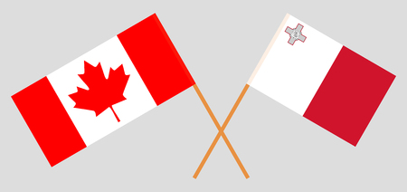 Malta and Canada. The Maltese and Canadian flags. Official colors. Correct proportion. Vector illustration