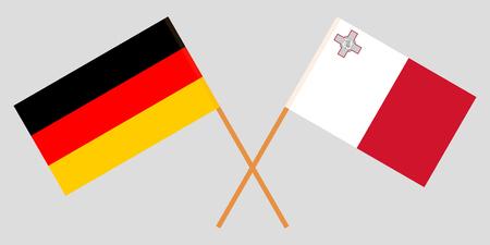Malta and Germany. The Maltese and German flags. Official colors. Correct proportion. Vector illustration Vektoros illusztráció