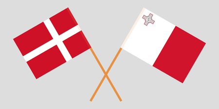 Malta and Denmark. The Maltese and Danish flags. Official colors. Correct proportion. Vector illustration