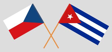 Cuba and Czech Republic. The Cuban and Czech flags. Official colors. Correct proportion. Vector illustration Ilustração