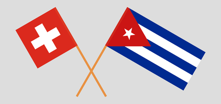 Switzerland and Cuba. The Swiss and Cuban flags. Official colors. Correct proportion. Vector illustration