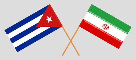 Cuba and Iran. The Cuban and Iranian flags. Official colors. Correct proportion. Vector illustration