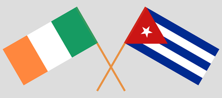 Cuba and Ireland. The Cuban and Irish flags. Official colors. Correct proportion. Vector illustration  Illustration