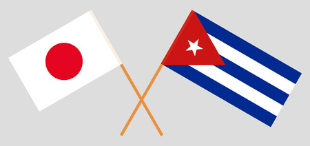 Japan and Cuba. The Japanese and Cuban flags. Official colors. Correct proportion. Vector illustration