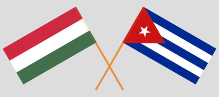 Cuba and Hungary. The Cuban and Hungarian flags. Official colors. Correct proportion. Vector illustration