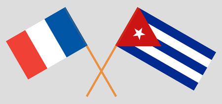 France and Cuba. The  French and Cuban flags. Official colors. Correct proportion. Vector illustration