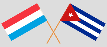 Cuba and Luxembourg. The Cuban and Luxembourgish flags. Official colors. Correct proportion. Vector illustration Vetores