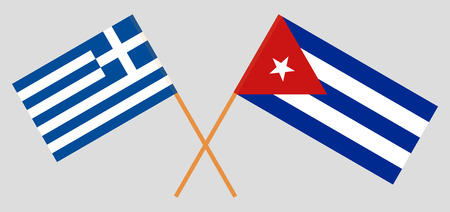 Greece and Cuba. The Greek and Cuban flags. Official colors. Correct proportion. Vector illustration