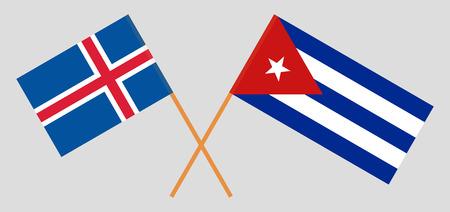 Cuba and Iceland. The Cuban and Icelandic flags. Official colors. Correct proportion. Vector illustration