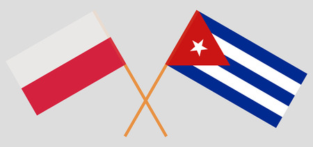 Poland and Cuba. The Polish and Cuban flags. Official colors. Correct proportion. Vector illustration