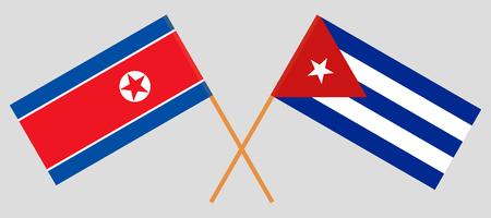 North Korea and Cuba. The Korean and Cuban flags. Official colors. Correct proportion. Vector illustration Illusztráció