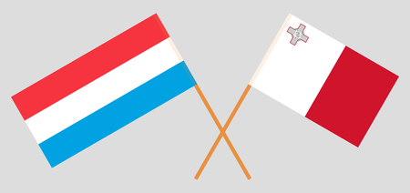 Malta and Luxembourg. The Maltese and Luxembourgish flags. Official colors. Correct proportion. Vector Vektoros illusztráció