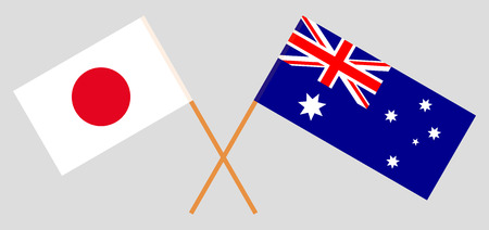 Australia and Japan. The Australian and Japanese flags. Official colors. Correct proportion. Vector illustration