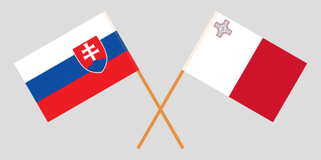 Malta and Slovakia. The Maltese and Slovakian flags. Official colors. Correct proportion. Vector