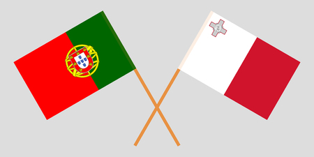 Malta and Portugal. The Maltese and Portuguese flags. Official colors. Correct proportion. Vector