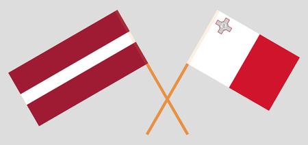 Malta and Latvia. The Maltese and Latvian flags. Official colors. Correct proportion. Vecto Vektoros illusztráció