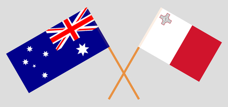 Australia and Malta. The Australian and Maltese flags. Official colors. Correct proportion. Vector illustration