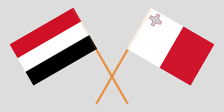 Malta and Yemen. Maltese and Yemeni flags. Official colors. Correct proportion. Vector illustration