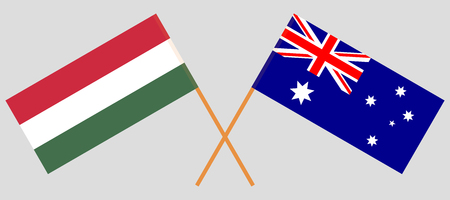 Australia and Hungary. The Australian and Hungarian flags. Official colors. Correct proportion. Vector illustration