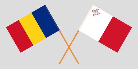 Malta and Romania. The Maltese and Romanian flags. Official colors. Correct proportion. Vector Vektoros illusztráció