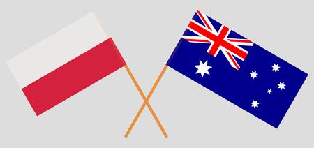 Australia and Poland. The Australian and Polish flags. Official colors. Correct proportion. Vector illustration Vektoros illusztráció