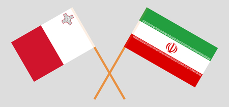 Malta and Iran. The Maltese and Iranian flags. Official colors. Correct proportion. Vecto