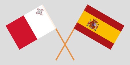 Malta and Spain. The Maltese and Spanish flags. Official colors. Correct proportion. Vector