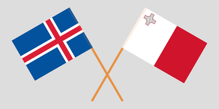 Malta and Iceland. Maltese and Icelandic flags. Official colors. Correct proportion. Vector illustration