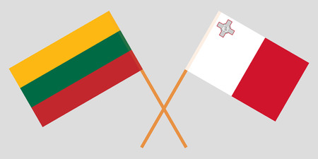Malta and Lithuania. The Maltese and Lithuanian flags. Official colors. Correct proportion. Vector