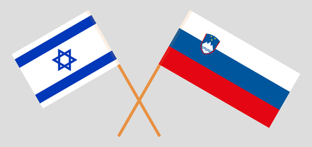 Slovenia and Israel. The Slovenian and Israeli flags. Official colors. Correct proportion. Vector illustration