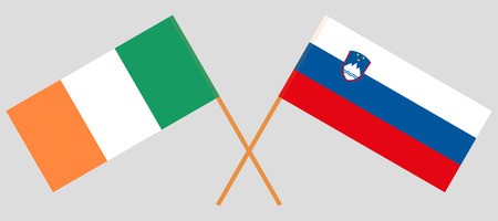 Slovenia and Ireland. The Slovenian and Irish flags. Official colors. Correct proportion. Vector illustration