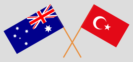 Australia and Turkey. The Australian and Turkish flags. Official colors. Correct proportion. Vector illustration Ilustração