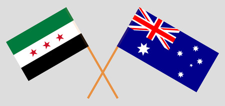 Australia and Interim Government of Syria. The Australian and Coalition flags. Official colors. Correct proportion. Vector illustration