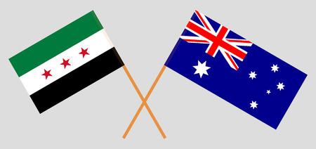 Australie et gouvernement intérimaire de la Syrie. Les drapeaux australien et de la coalition. Couleurs officielles. Proportion correcte. Illustration vectorielle