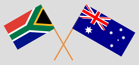 Australia and RSA. The Australian and South African flags. Official colors. Correct proportion. Vector illustration Ilustração