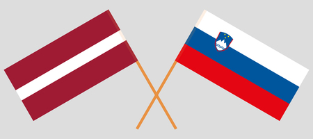 Slovenia and Latvia. The Slovenian and Latvian flags. Official colors. Correct proportion. Vector illustration
