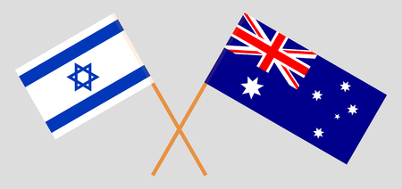 Australia and Israel. The Australian and Israeli flags. Official colors. Correct proportion. Vector illustration