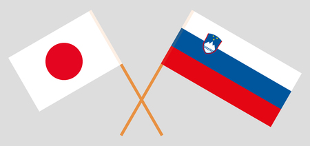 Slovenia and Japan. The Slovenian and Japanese flags. Official colors. Correct proportion. Vector illustration